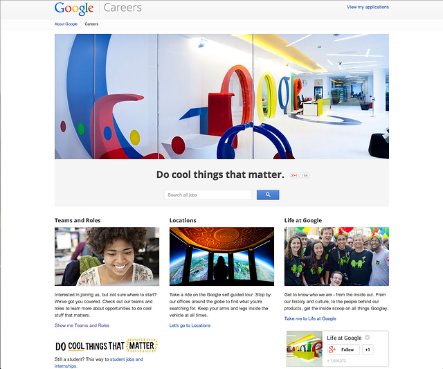google careers page