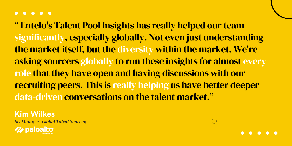 Entelos Talent Pool Insights has really helped our team significantly, especially globally. Not even just understanding the market itself, but the diversity within the market. Were asking sourcers globally to run t